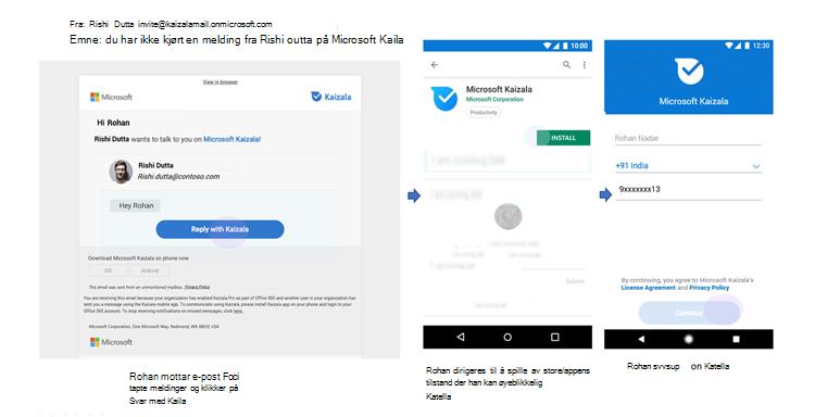 Bilder av telefon bruker grensesnittet til tapte meldings varsler for en bruker som ikke er på Kaizala.