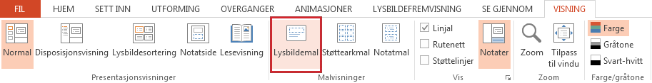 Alternativet Lysbildemal er på Visning-fanen.