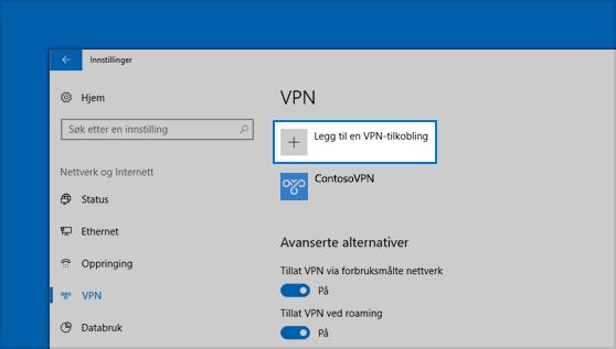 Plasseringen til Legg til en VPN-tilkobling-knappen i Innstillinger
