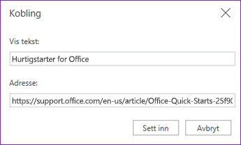 Hyperlink-dialogboks for OneNote Online.