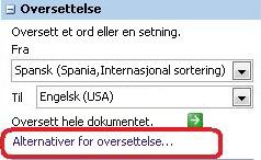Alternativer for oversettelse
