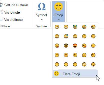 Klikk mer Emojier på Emojier-knappen på Sett inn-fanen for å velge fra alle tilgjengelige emojier.
