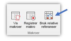 skjermbilde som viser knappen «Bruk Relative referanser»