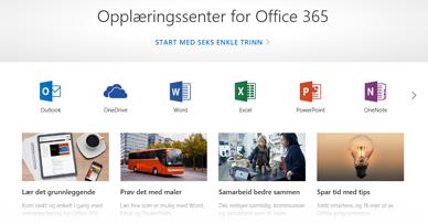 Hjemmesiden for opplæringssenteret for Office med ikoner for de ulike Office-programmene og fliser for tilgjengelige innholdstyper