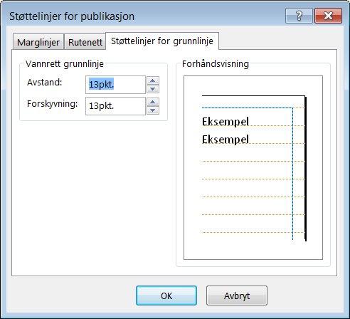 Dialogboksen Støttelinjer for publikasjon i Publisher, som viser kategorien Støttelinjer for grunnlinje