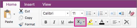 Klikk knappen senket skrift og hevet skrift for å gjøre et alternativ
