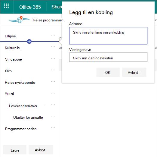 Rediger SharePoint hub-navigasjon
