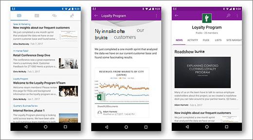 Nyheter for SharePoint på Android mobile enheter