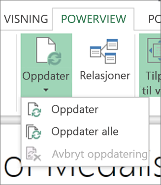 Oppdateringsknapp for Power View