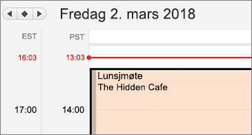 Nærbilde av kalender med to ulike tidssoner på venstre side