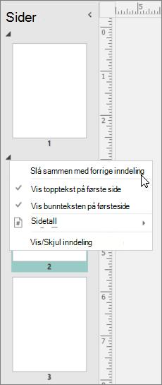 Et skjermbilde viser en inndeling som er merket med markør som peker på flettingen med alternativet i forrige del.