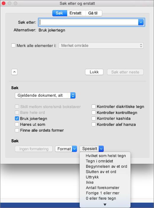 Bruk av jokertegn i dialogboksen Søk og erstatt