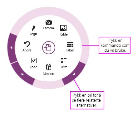 Klikk kommandoer eller piler for å bruke sirkelmenyen