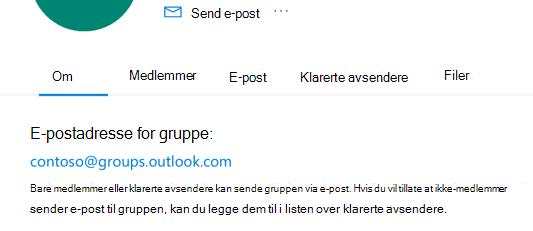 Legg til klarerte avsendere i en Outlook.com gruppe.