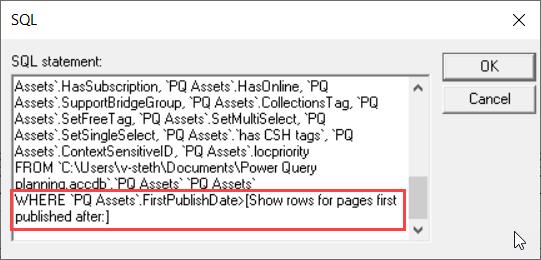 SQL-visningen av MS Query fremhever WHERE-setningsdelen
