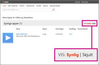 Vise synlige eller skjulte apper for Office