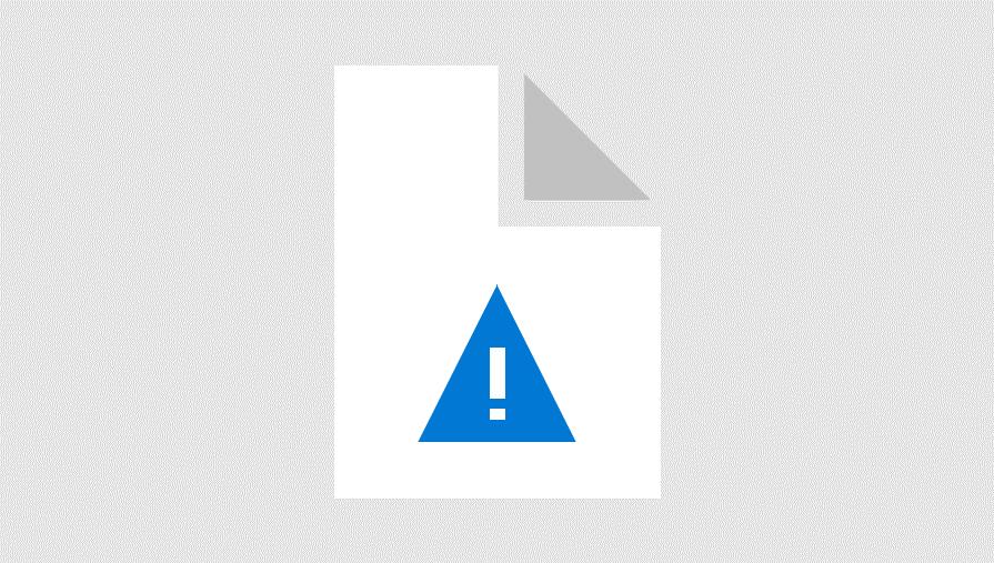 Illustrasjon av en trekant med utropstegn forsiktighet symbol oppå et ark med øverst til høyre hjørne brettet innover. Den representerer advarsel om at datamaskinfiler er skadet.