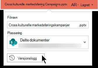 Velg fil navnet på tittel linjen for å få tilgang til fil versjons loggen