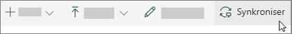 SharePoint Online-verktøylinjen med alternativet Synkroniser valgt