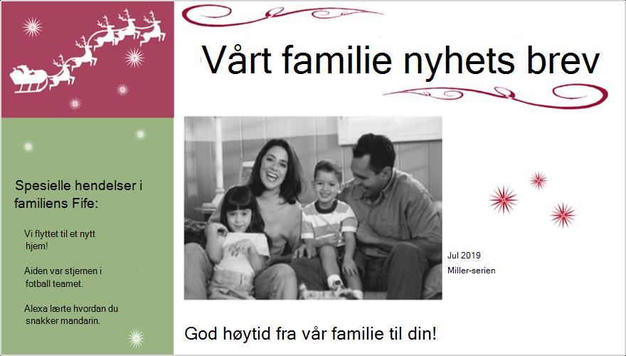 Bilde av et nyhets brev for ferie familie med bilde