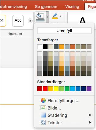 Skjermbildet viser alternativene som er tilgjengelige fra Figurfyll-menyen, inkludert uten fyll, temafarger, standardfarger, flere fyllfarger, bilde, gradering og tekstur.