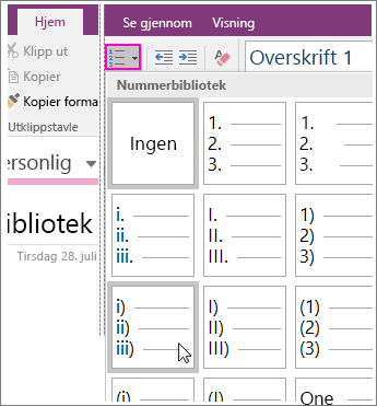 Skjermbilde av hvordan du legger til nummerering på en side i OneNote 2016.