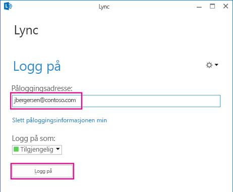Del av Lync-pålogging med Slett påloggingsinformasjonen min uthevet