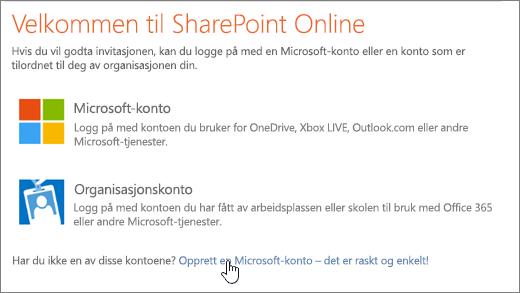 Et skjermbilde som viser påloggingsskjermen for SharePoint Online med koblingen for å opprette en Microsoft-konto allerede valgt.