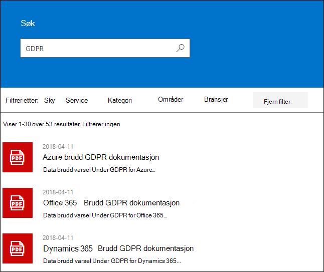 STP søkeresultater - søke term GDPR