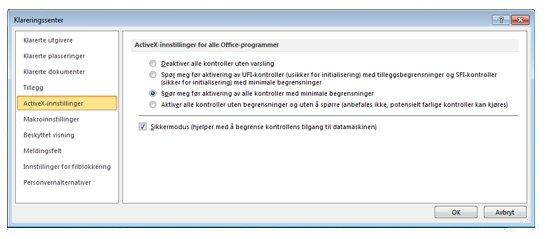 ActiveX-innstillinger-området i klareringssenteret