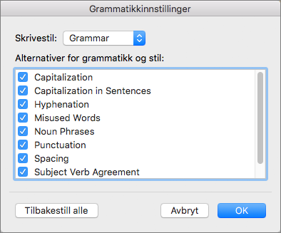 In Grammar Settings, select the categories of issues that Word checks for.