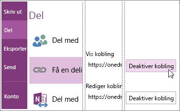 Skjermbilde av hvordan du deaktiverer en kobling i OneNote 2016.