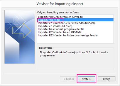 Velg Eksporter til en fil.