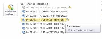 Backstage-visning av versjons loggen for en Microsoft Word-fil. Versjon 4 er valgt.