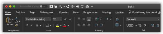 bilde av båndet i Excel i mørk modus