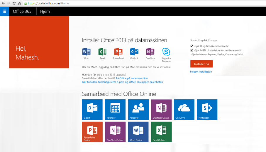 Skjermbilde som viser hvordan du installerer Office 365 på en PC.