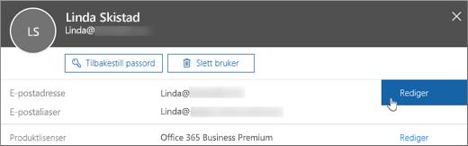 Velg Rediger ved siden av den primære e-postadressen.