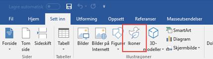 Illustrasjoner-gruppen inneholder verktøy som lar deg legge til figurer, ikoner, SmartArt og mer i dokumentet