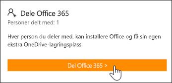 Del Office 365-delen på Min konto-siden før abonnementet er delt med noen.