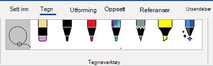 Kategorien tegne verktøy på båndet i Word.