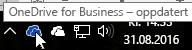 Et skjermbilde som viser at markøren holdes over det hvite OneDrive-ikonet med teksten OneDrive for Business.