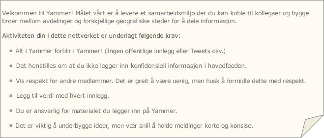 Et eksempel på retningslinjer for Yammer