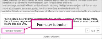Knapp for formatering av fotnoter i området for redigering av fotnoter i Word Online