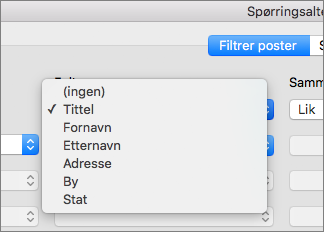 Klikk feltet du vil filtrere etter