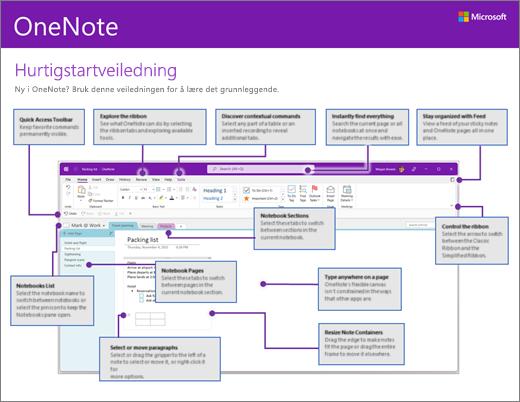 Hurtigstartveiledning for OneNote 2016 (Windows)