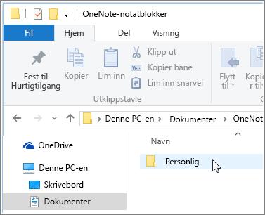 Skjermbilde av mappen Windows-dokumenter med mappen OneNote-notatblokk synlig.