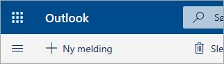 Et skjermbilde av øvre, venstre hjørne av beta-postboksen i Outlook.com
