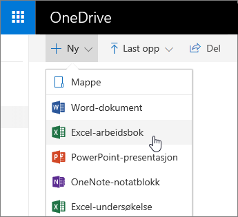 Ny-menyen i OneDrive, kommando for Excel-arbeidsbok