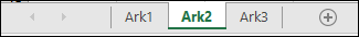 Regnearkfaner nederst i Excel-vinduet