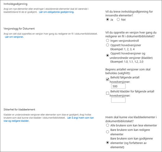 Dialogboks for valg for versjonskontroll